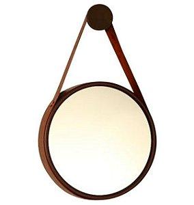 Espelho Decorativo Marrom Cinta De Couro Marrom Ø60cm