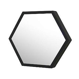 Espelho Decorativo Preto 35cm Hexagonal Jules