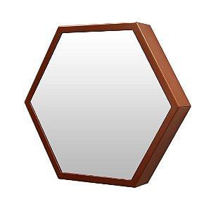 Espelho Decorativo Cobre 35cm Hexagonal Jules