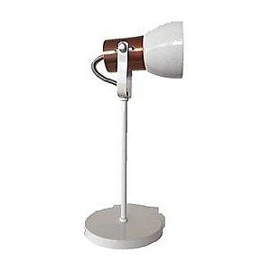 Luminária de Mesa Abajur Branco e Cobre LM110-BC-CO