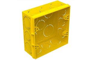 Caixa de Luz Plástica Quadrada 4x4 Amarelo Amanco