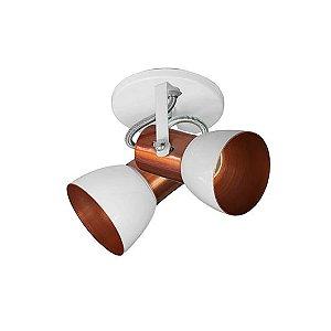 Spot Cone para 2 Lâmpadas E27 Branco e Cobre SP1945-2