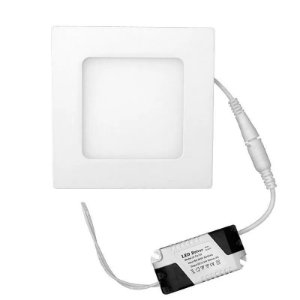 Placa de Led de Embutir Quadrada Branco Quente 6W (luz amarela)