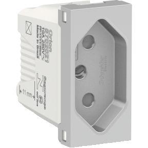 Tomada 2P+T 10A 250V Aluminium Schneider Orion S70202174