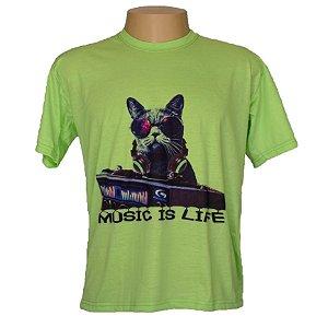 Camiseta masculina musica é vida