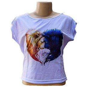 Blusa bata básica manga curta leões sol e lua