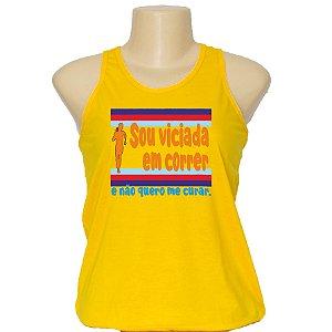 Camiseta feminina regata viciada em correr