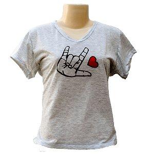 Camiseta baby look Libras eu te amo