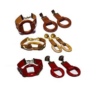 Conjunto Lilópolis pulseira e Brincos em couro