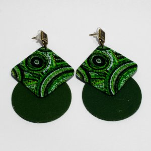 Brincos Quemé verde e Preto