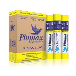 Lençol de Papel 50cmx50m - Amarelo - Eco Luxo - Branco 100% Fibras - Plumax
