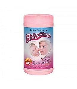 Lenco Umidecido Pote Rosa c/80 - Baby Bless