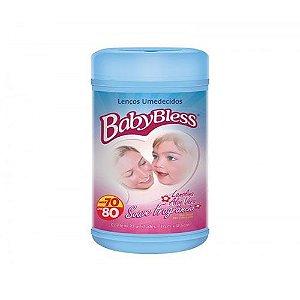 Lenco Umidecido Pote Azul c/80 - Baby Bless
