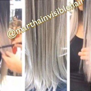 Cabelo loiro platinado Martha Hair nº 12, mesclado, raiz esfumada, com coloração (kit com 25g)