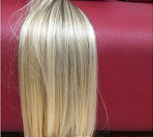 Cabelo loiro ultra claríssimo Martha Hair nº 12, loiro claro dourado, natural, liso, com coloração (kit com 25g)
