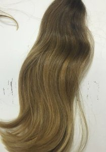 Cabelo loiro médio Martha Hair nº 7, natural, liso, com coloração (kit com 25g)