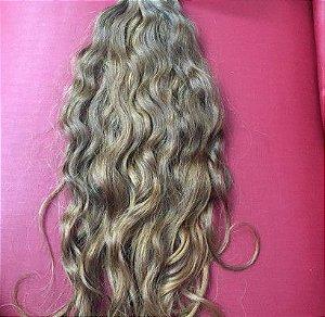 Cabelo loiro médio Martha Hair nº 7, cacheado, mesclado, natural, liso, com coloração (kit com 25g)