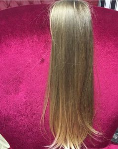 Cabelo loiro claro Martha Hair nº 8, natural, liso, com coloração (kit com 25g)