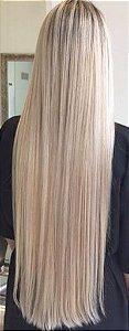 Cabelo loiro super claro Martha Hair nº 11, mesclado, mega hair, natural, liso, com coloração (kit com 25g)