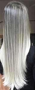 Cabelo loiro ultra claríssimo Martha Hair nº 12, mesclado, natural, liso, com coloração (kit com 25g)