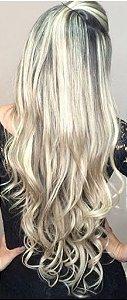 Cabelo loiro ultra claríssimo Martha Hair nº 12, mesclado, natural, ondulado, com coloração (kit com 25g)