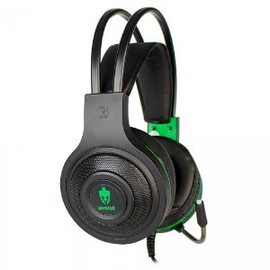 HEADSET GAMER EVOLUT TÊMIS, LED, DRIVERS 40MM, PRETO E VERDE - EG-301GR