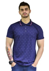 Camisa Polo Azul Royal Micro Estampada Fortman