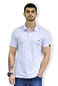 Camisa Polo Branca Micro estampada