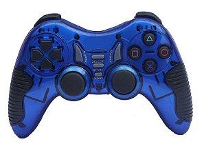 Controle Sem Fio Ps2-Ps3-Pc Bateria Recarregavel Azul