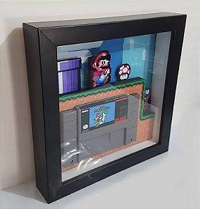 Quadro Super Nintendo 3d - Fita Super Mario World