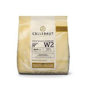 Chocolate Belga Callets/Moedas Branco W2 (28% cacau) - Gotas 400g CALLEBAUT