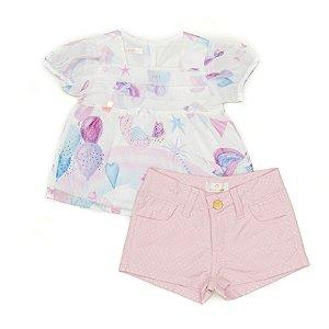 Conjunto Feminino Infantil Bata Estampada com  Shorts Rosa Matinée
