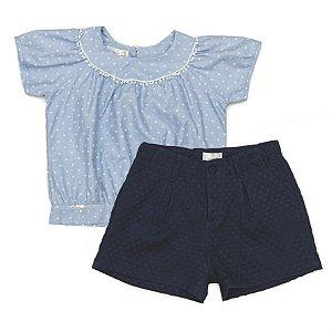 Conjunto Feminino  Infantil  Bolinhas Azul com Shorts Matinée