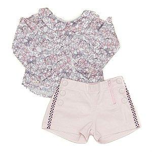 Conjunto Feminino Infantil com Blusa Estampada  com Shorts Matinée