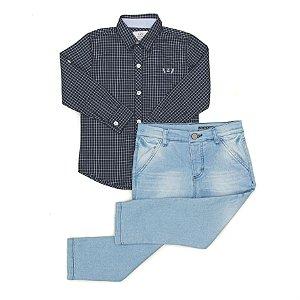 Conjunto Masculino Infantil Camisa Manga Longa  Xadrez com  Calça Jeans Club Z