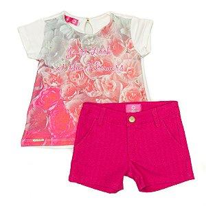Conjunto Feminino Infantil Bata  Estampada  com Shorts Pink Matinée