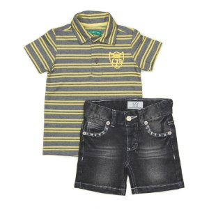 Conjunto Masculino Infantil de   Camisa Polo Listrada Amarelo e Bermuda Jeans ClubZ