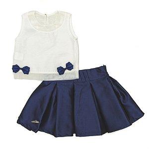 Conjunto Feminino Infanti de l Blusa Off-Witte  Plissada e saia Azul Matinée