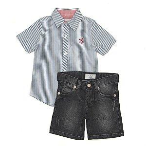 Conjunto Masculino Infantil  Com Camisa  M/C e Bermuda Jeans Club Z