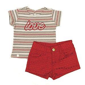Conjunto Feminino Infantil de Shorts Sarja  Vermelho com  Blusa listrada Matinée