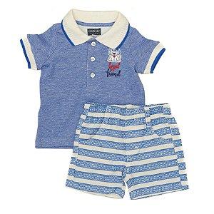 Conjunto Masculino Bebe  Camiseta Polo Azul e shorts Club Z