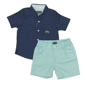 Conjunto Masculino  Bebe Com  Berm e Camisa Azul  M/C ClubZ