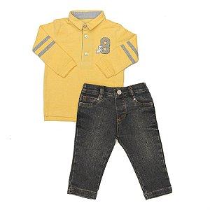 Conjunto Masculino Bebe Camisa Polo Amarela  com Calça Club Z