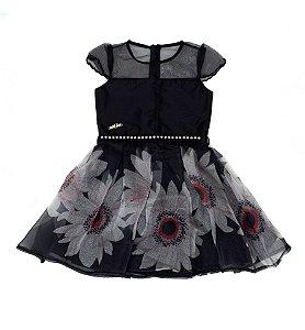 Vestido Infantil Preto  Estampado Matinée