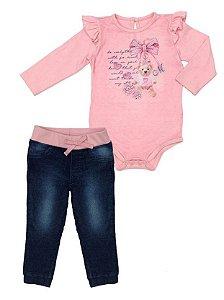 Conjunto Feminino Bebê  de Blusa Rosa Manga Longa Com Calça Jeans Matinée