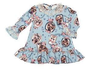 Vestido Bebê Estampado de Cachorrinhos Matinée