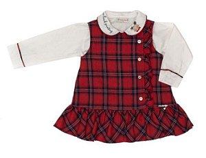 Conjunto Feminino Bebê de Vestido Vermelho  Xadrez Com Blusa Branca Matinée