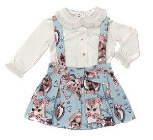 Conjunto Feminino Infantil de Salopete Estampada com Blusa Branca Matinée