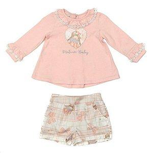 Conjunto Feminino Infantil de Bata Rosa Com Shorts Matinée