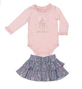 Conjunto Feminino Bebê de Blusa Rosa com Saia Matinée